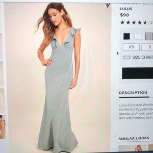 Lulu grey maxi flutter sleeve dress